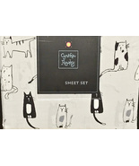 Cynthia Rowley Sketched Black White Cats on Light Gray Microfiber Sheet ... - $78.00
