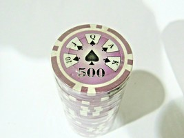 Lot of 25 Purple $500 14g Clay Poker Chips Ace Casino Design - $6.99