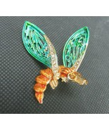 Vintage Costume Jewelry, Gold, Aqua Wings, Brown Rhinestone Insect Brooc... - $24.45