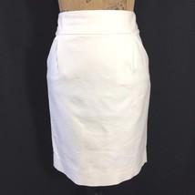 J.Crew 8 Med The Pencil Skirt Cream White Pocket Cotton Texture Work Bas... - $34.80