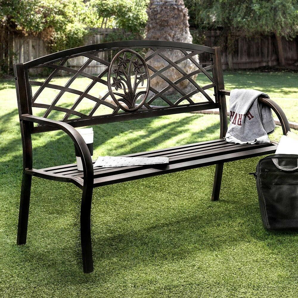 Iron Outdoor Black Patio Bench Chair Wrought Garden Porch Furniture Metal Deck