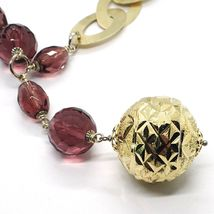 Silver necklace 925, Oval Patinated, Machined Ball Large, purple balls image 3