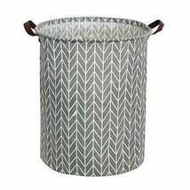 Tsingree Collapsible Laundry Hamper, Round Cotton Linen Basket, Grey - $18.00