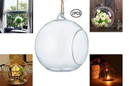 URBANSEASONS Glass Hanging Terrarium Air Plant Globe Candle Holder Home ... - $13.13