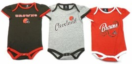 Infant Girl's Cleveland Browns NFL Bodysuit Set of 3 Baby Ruffled Tee Shirts