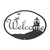 "Powdercoated Black Iron 12"" Lighthouse & Birds Welcome Sign Wall Decor - $17.49"