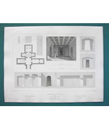 ARCHITECTURE PRINT 1850 - ITALY Etruscan Tombs at Vulci - $8.99