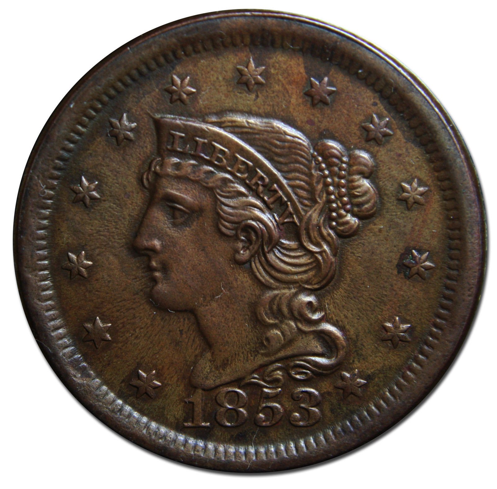 1853 Large Cent Liberty Braided Hair Head Coin Lot # MZ 3075