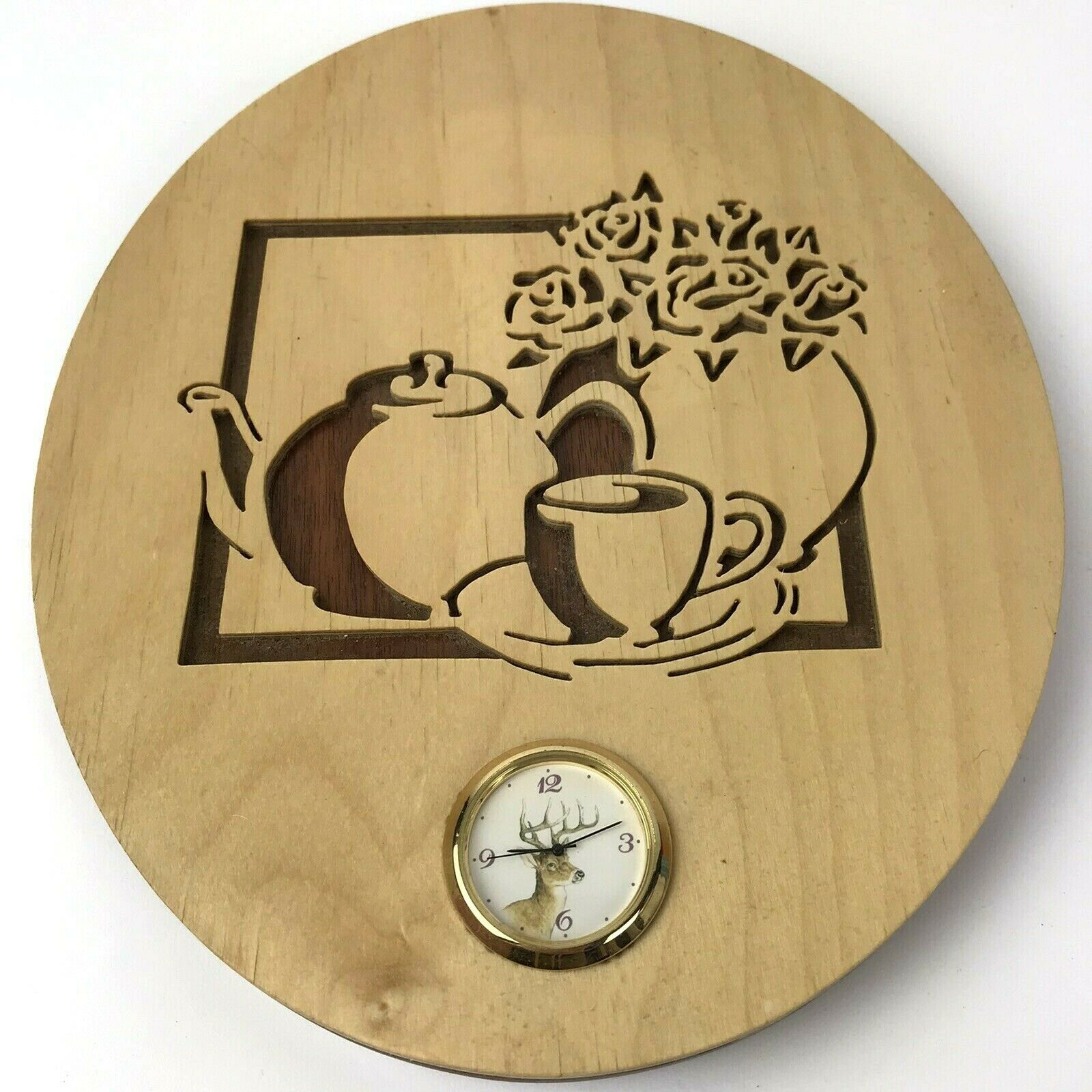 Primary image for Vintage Handmade Cut Wood Wall Clock Alaska Coffee Wildlife Cabin Decor