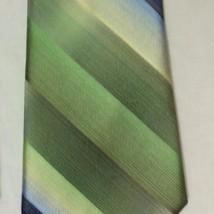 VAN HEUSEN Green and Blue Silk Striped Tie - $6.93