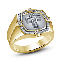 Yellow Gold Plated 925 Silver Round Cut White CZ Men's Cross Ring Free Shipping - $81.99