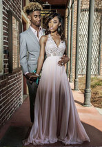 Halter Split Side Long Prom Dresses with Appliques - $129.99