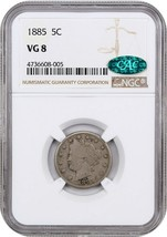 1885 5c NGC/CAC VG-08 - Key Date - Liberty V Nickel - Key Date - $630.50