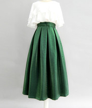 Emerlad Green Midi Party Skirt Outfit Glitter A-line Midi Skirt High Waisted image 2