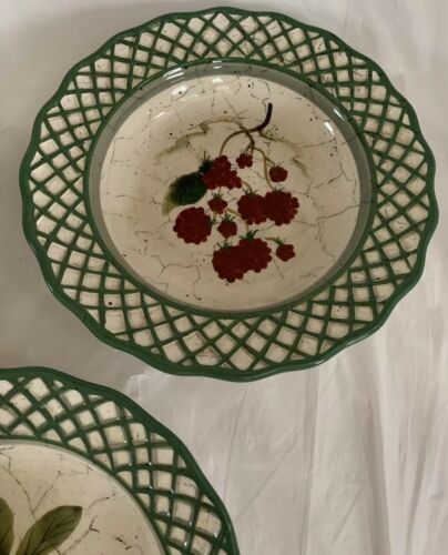 Raymond Waites Cornucopia Fruit Lattice ~ Fruits ~ Soup Bowls Set of 3 image 3