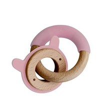 Little Rawr Baby Teether Ring- Eco-Friendly Teethers - Made of Wood & Soft Silic