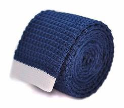 bleu marine cravate en tricot fin avec blanc bout Frederick Thomas ft2030