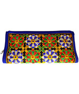 Zonnie Vanya Indian Embroidered Zippered Small Purse Blue - $21.22