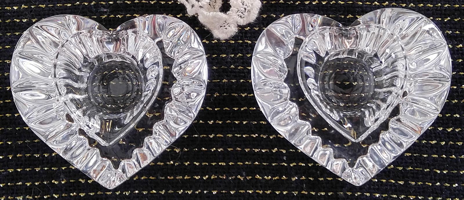 """Vintage Mikasa Lead Crystal Candle Holders - """"Heartfelt"""" Design"""