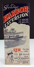San Diego Harbor Excursion Sightseeing Tour Boat 1940's Travel Brochure - $4.95