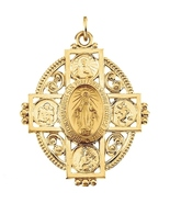 14K Solid Yellow Gold Large 35x28mm Miraculous Four-Way Cross Catholic M... - $499.99