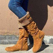 Women Pleated Knee High Boot 2020 Woman Buckle Long Boot Autumn Winter Female... - $55.24+