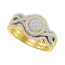 10k Yellow Gold Round Diamond Cluster 3-Piece Bridal Wedding Engagement Ring Set - $498.34