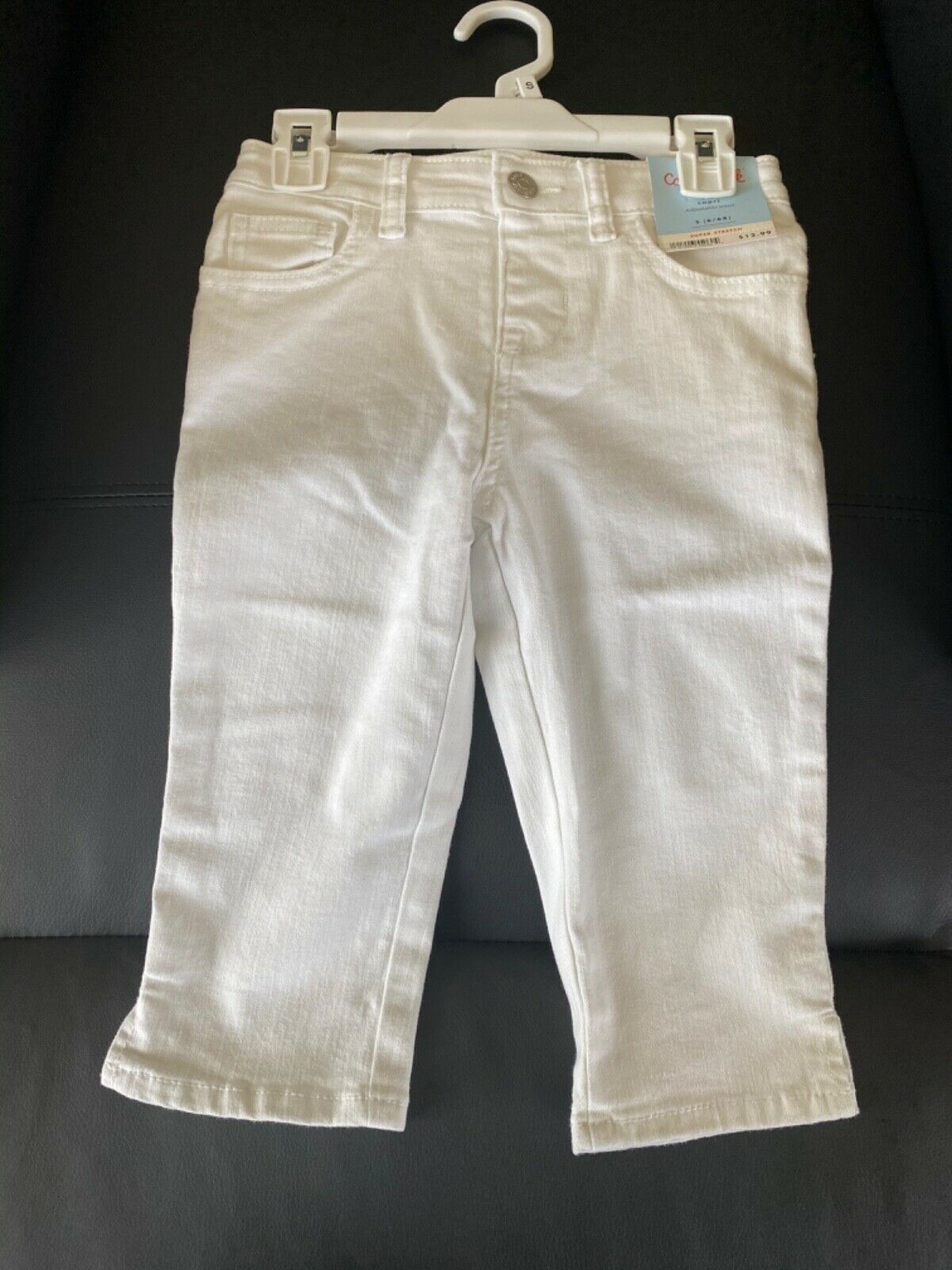 Primary image for Cat and Jack Super Stretch White Capri Pants Kids Small 6/6X NWT