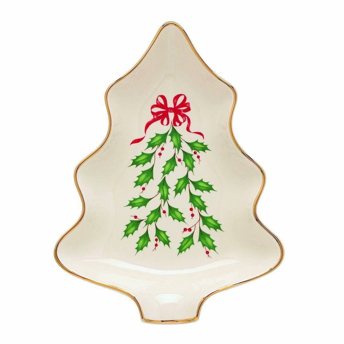 "LENOX Holiday CHRISTMAS 7.5"" TREE CANDY DISH, NEW in Box"