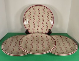 Regency Newcor WILLIAMSBURG BURGUNDY Stoneware Dinner Plate (s) LOT OF 4 - $29.65