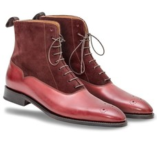 Handmade Men's Maroon Leather And Suede Brogues Style High Ankle Lace Up Boo image 2
