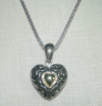 VTG AVON NR Signed Dual Tone Embossed Heart Necklace & Earring Set No Box - $19.80