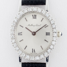 18k White Gold Mathey-Tissot Hand-Winding Watch w/ Diamond Bezel & Leath... - $2,078.99