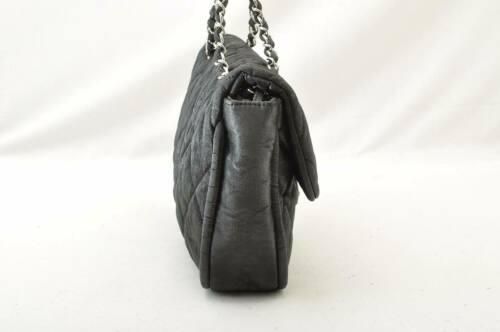 CHANEL Nylon Matelasse Chain Shoulder Bag Black Auth 9576 **Powder image 4