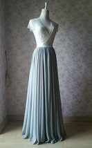 Silver Gray Chiffon Bridesmaid Skirt Floor Length Chiffon Wedding Party Skirt image 6