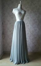 Silver Gray Chiffon Bridesmaid Skirt Floor Length Chiffon Wedding Party Skirt image 6