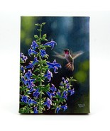 Hummingbird and Blue Flower LED Light Up Lighted Canvas Wall or Tabletop... - $20.89