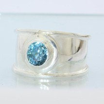 Sparkling Blue Zircon Faceted Handmade Sterling Silver Ladies Ring size 11.25 - £164.03 GBP