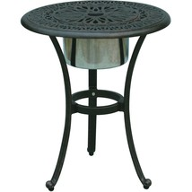Patio End Table Cast Aluminum Furniture Elisabeth Ice Bucket Insert Bronze image 1