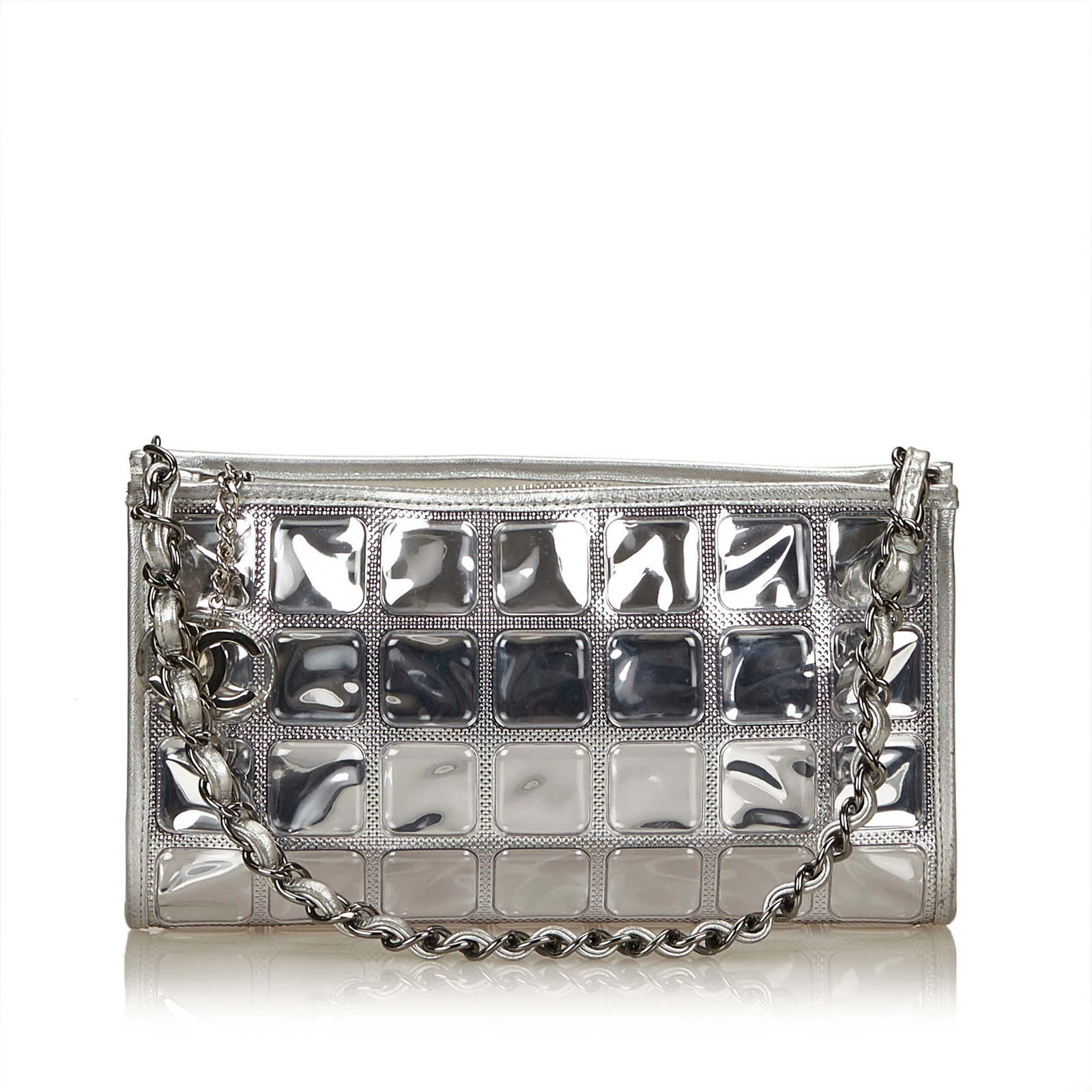 cc9af748cee2 Pre-loved Chanel Silver PVC Plastic Ice Cube Flap Bag Italy - $704.49
