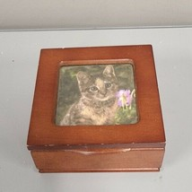 Vintage Wooden Kitty Cat Jewelry box with picture frame 5x5x2 Felt Compa... - $22.00