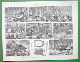 MINING Coke Production Kilns Ovens Furnaces - Original Engraving Print - $12.60