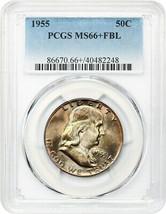 1955 50c PCGS MS66+ FBL - Pretty Toning - Franklin Half Dollar - Pretty ... - $1,134.90