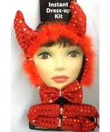 Sexy Red Lady Devil Sequin Horns Bowtie Tail Set Halloween Costume Insta... - $7.59