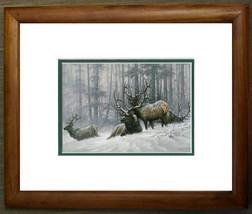 Bull Elk by Larry Fanning Wildlife Animal Snow Scene Double Matted & Framed - $44.54