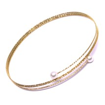 18K ROSE GOLD MAGICWIRE BANGLE BRACELET, ELASTIC WORKED MULTI WIRES PINK PEARLS image 1