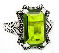 12CT Peridot 925 Solid Sterling Silver Edwardian Look Ring Jewelry Sz 7,... - $29.69