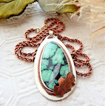 One of a Kind Artisan Crafted Sterling Copper Chrysocolla Long 28 Inch N... - $217.55