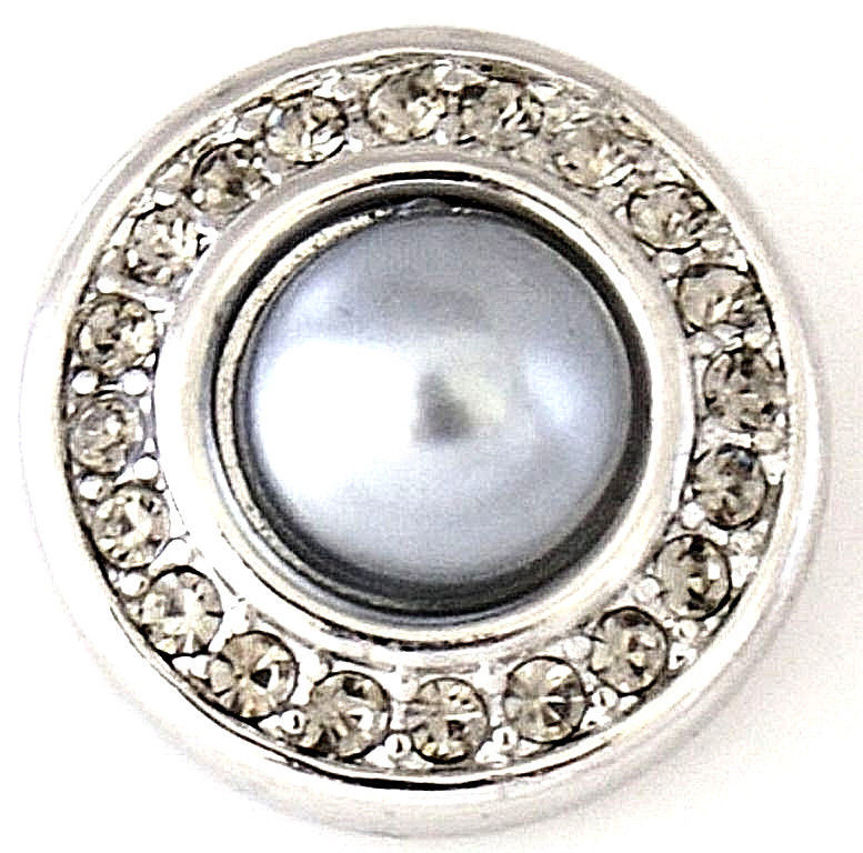 Gray Pearl Rhinestone 20mm Snap Interchangeable Jewelry For Ginger Snaps - $6.19