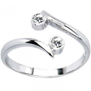 Primary image for White Gold Plated 925 Sterling Silver Round Cut CZ Elegant Adjustable Toe Ring
